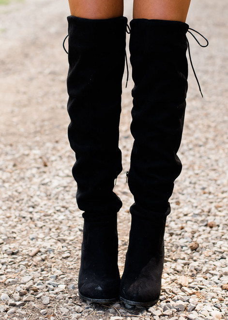 Back It On Up Over the Knee Boots Black CLEARANCE