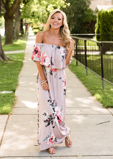I Believe In You Off Shoulder Ruffle Floral Maxi Dress