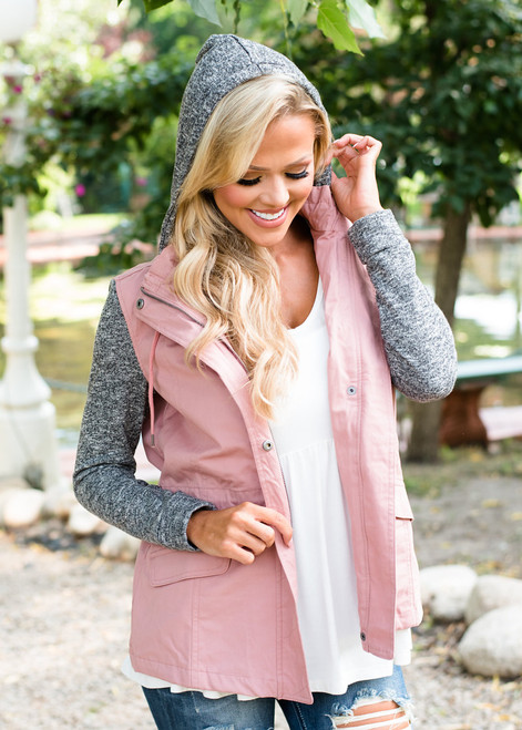 Mine to Lose Hooded Zip Up Jacket Mauve/Gray