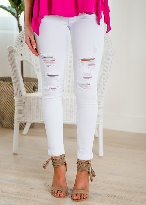 Baja Ready White Distressed Denim Skinny Jeans