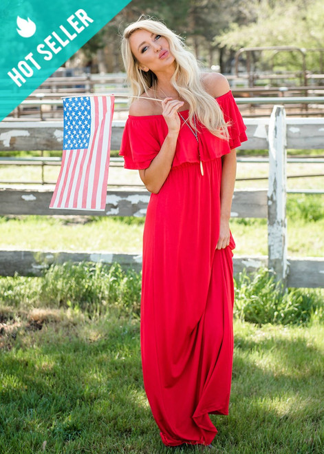 Need You Now Ruffle Top Maxi Dress Red