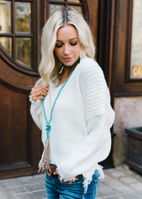 Keep Me Distressed Frayed Knit Sweater White