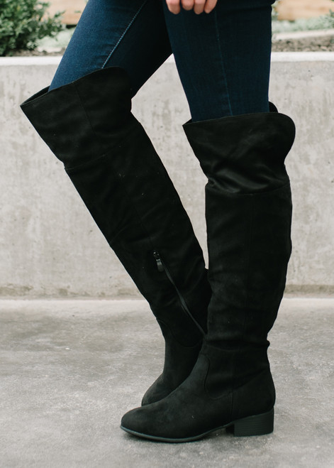 I Will Follow You Over The Knee Boot Black CLEARANCE