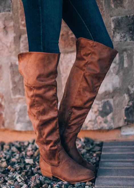 I Will Follow You Over The Knee Boot Taupe CLEARANCE