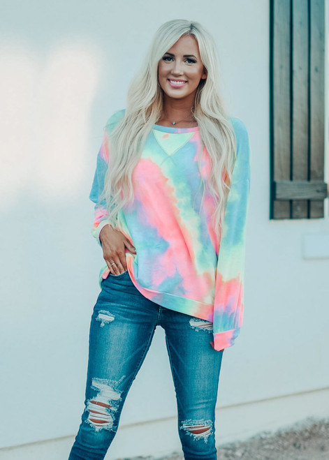 Tie Dye French Terry Pullover Sweater Pastel