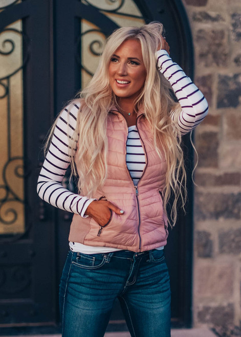 Best Of My Life Zip Up Puff Vest Mauve CLEARANCE