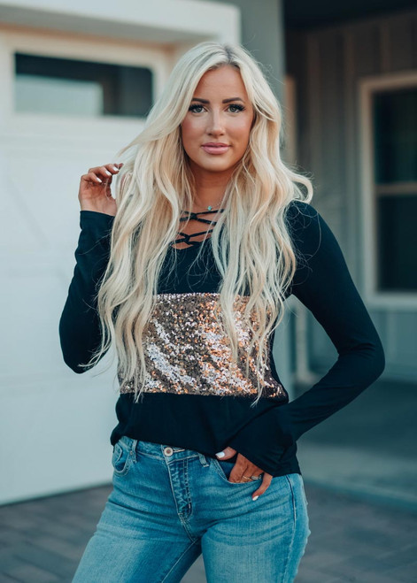 Sequins Criss Cross Top Black