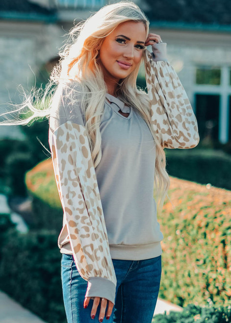 Criss Cross Leopard Puff Top Taupe