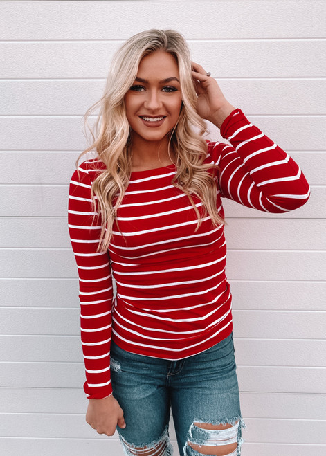 Beautiful Love Striped Boat Neck Top Red