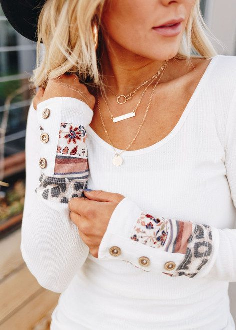 Must Have Details Waffle Top Ivory