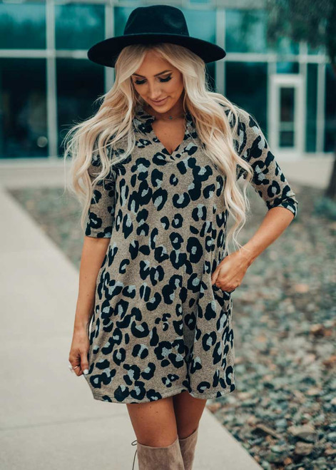 Keep Me In Line Leopard Dress Taupe