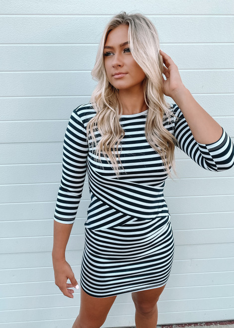 Super Soft Asymmetrical Striped Dress Navy