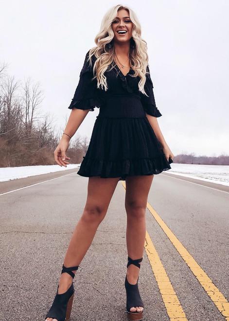 Time Is Precious Criss Cross Back Crinkled Belle Sleeve Dress Black