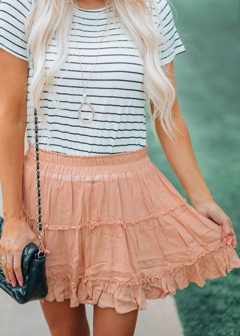 Another Saturday Night Ruffle Skirt Peach CLEARANCE