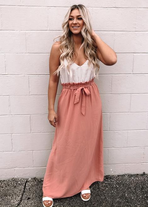 Best Of Me Faux Tie Maxi Dress Dusty Pink