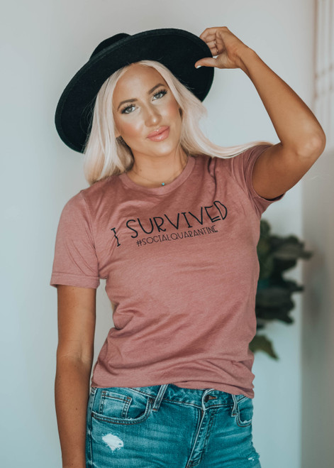 I Survived Social Quarantine Graphic Tee Mauve
