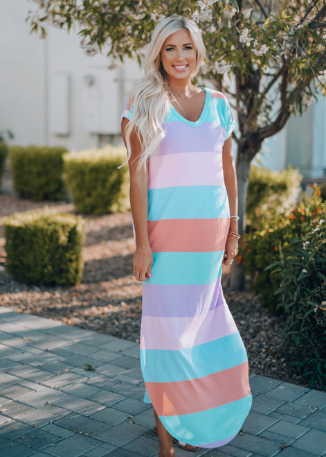 Speak To Me Striped Waffle Pocket Maxi Dress