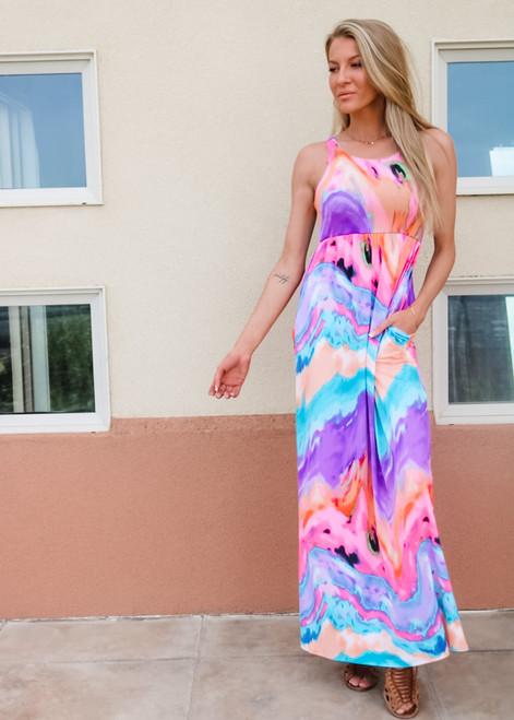 Know Your Worth Tie Dye Print Maxi Dress Blue/Purple