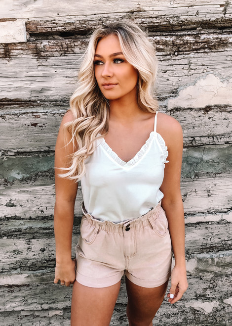 Look Back At It Ruffle Trim Tank White
