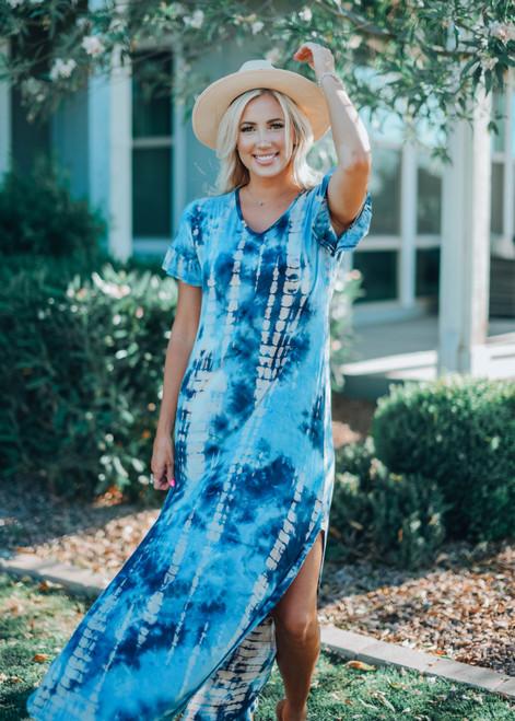 You're A Sunflower Tie Dye Ruffle Sleeve Maxi Dress Blue