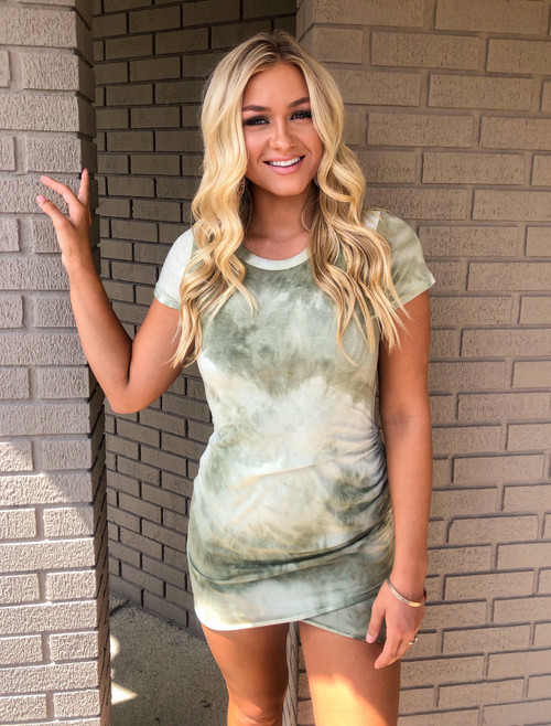 Tie Dye Shirred Ruched High Low Dress Olive