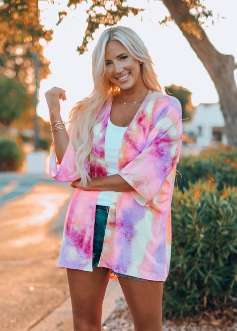 New Era Tie Dye Kimono Cardigan Purple/Yellow CLEARANCE