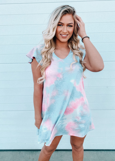 Make Things Right Butterfly Sleeve Tie Dye Dress