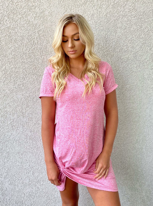 Change His Mind Knotted Dress Pink