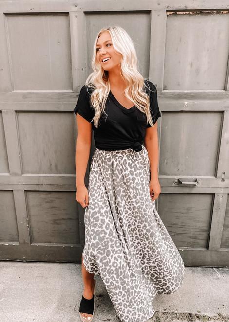 Circle Of Life Leopard Print Maxi Skirt