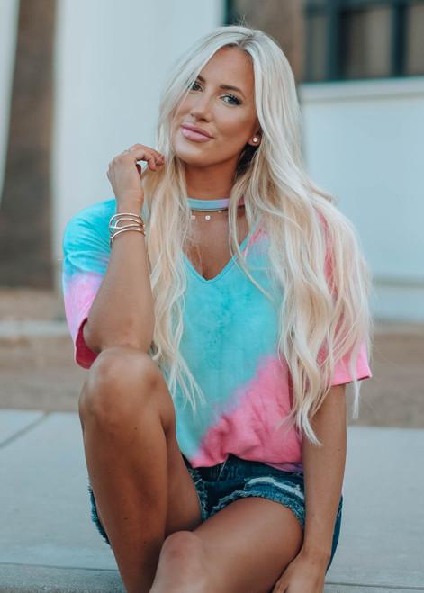 Need a Girl Like You Tie Dye Top Jade/Pink
