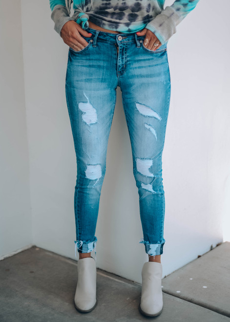 Quality Kan Can Mid Rise Ankle Skinny Distressed Jeans