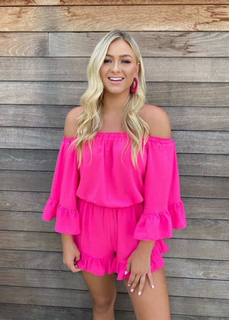 Sky High Ruffle Cinched Romper Hot Pink