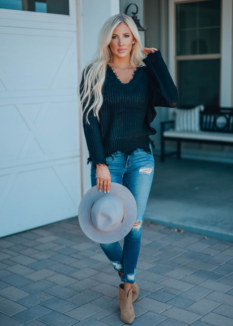 Cozy Up To Me Frayed Knit Sweater Black