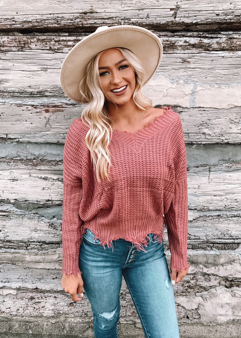 Cozy Up To Me Frayed Knit Sweater Ash Rose