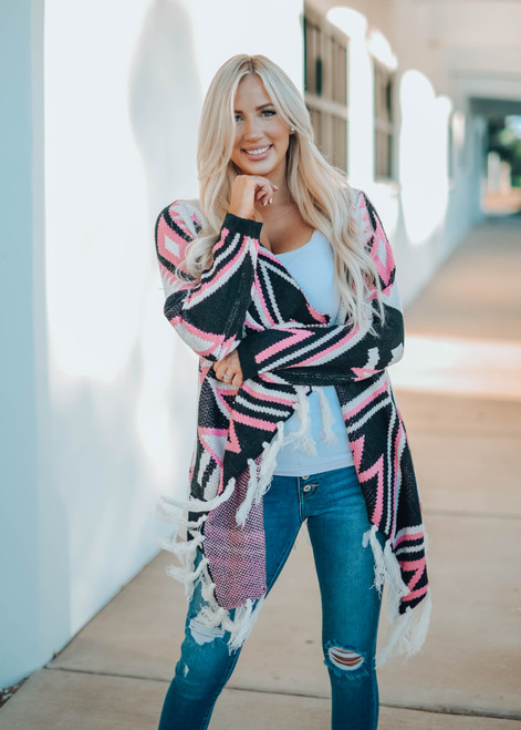 Perfect Aztec Print Open Front Fringed Cardigan Pink