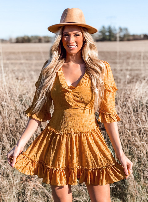 Criss Cross Back Crinkled Belle Sleeve Dress Mustard