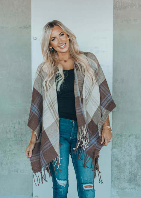 Back in the Swing Plaid Shawl Wrap Beige and Brown