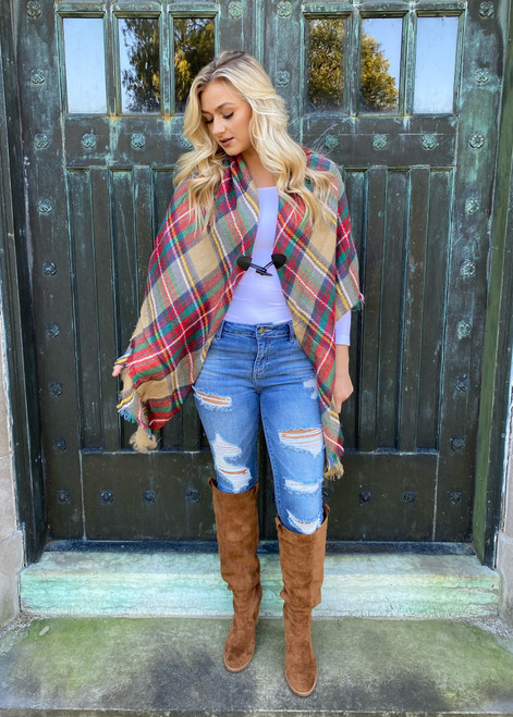 (Cyber Monday) Classic Flannel Toggle Closure Plaid Poncho Red/Khaki