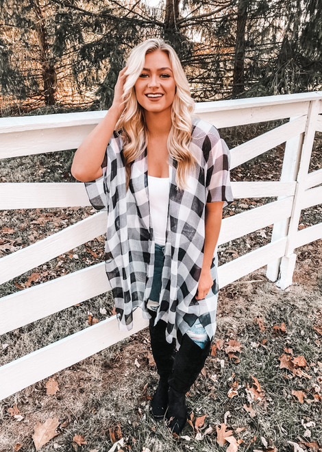 (Cyber Monday) Black and White Buffalo Checkered Sheer Kimono