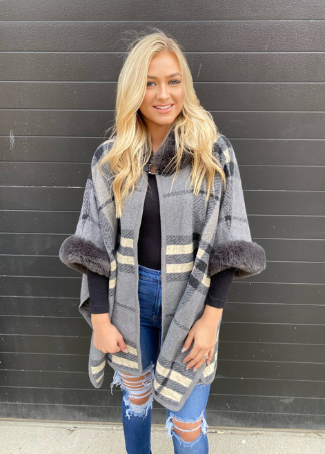 Amazing Plaid Faux Fur Lined Hooded Coat Poncho Grey  CLEARANCE