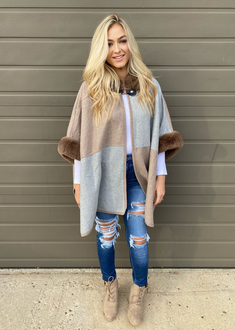 Color Block Faux Fur Hooded Coat Mocha/Grey
