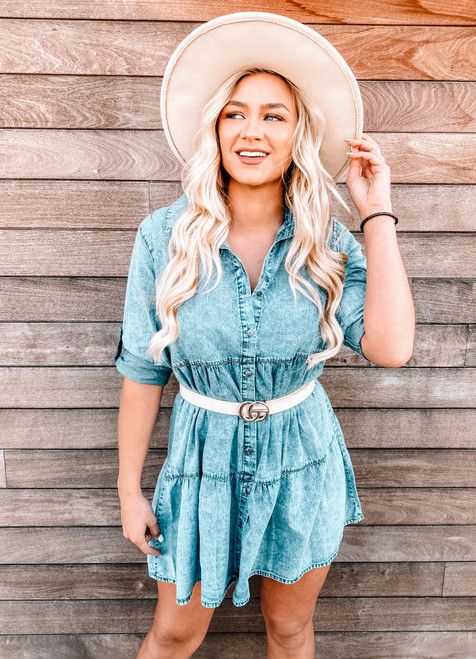 Chambray Ruffle Tiered Denim Shirt Tunic/Dress
