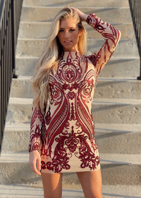 Holiday Sequins Stretch Dress Burgundy CLEARANCE
