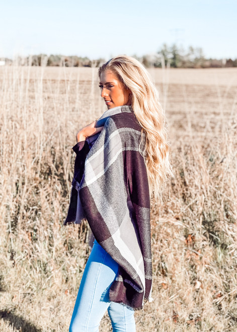 Colorblock Plaid Patterned Blanket Shawl/Scarf Black