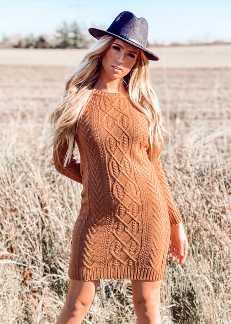 Cable Knit Sweater Dress Camel