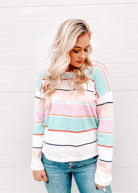 Ready for Spring Multi Colored Striped Top Lavender