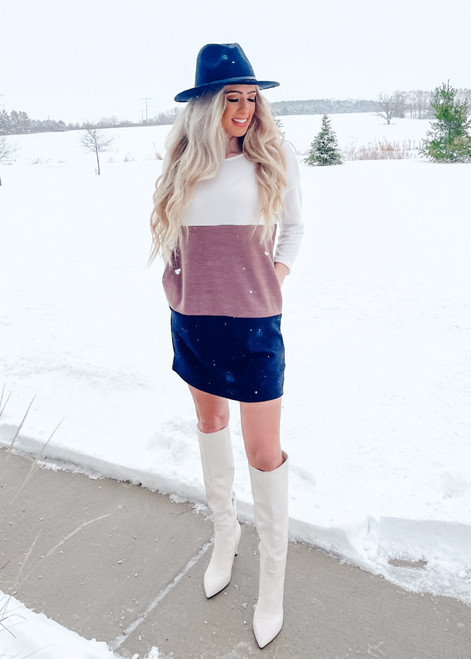Soft Colorblock Sweater Shift Dress Ivory/Brown/Black CLEARANCE