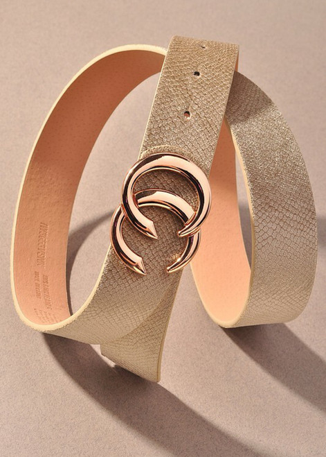 Faux Leather Snake Skin Belt Taupe