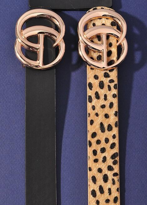 Cheetah Print Belt Tan