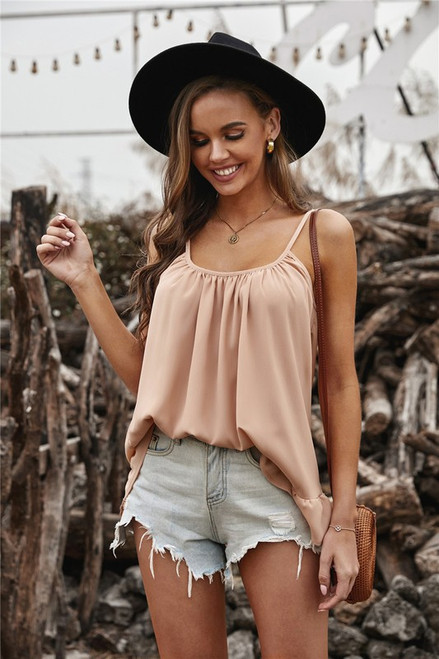 Pleated Ruffle Lightweight Spring Cami Tank Apricot